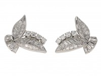 Vintage Diamond Leaf Shape Earrings berganza hatton garden