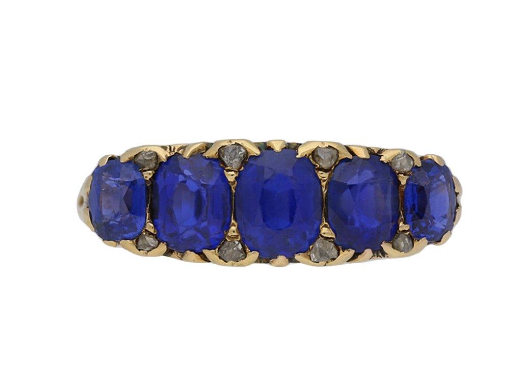 Victorian Burmese sapphire five stone ring hatton garden berganza