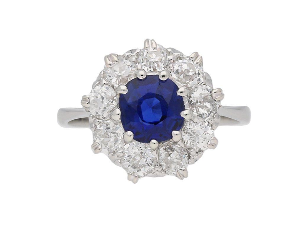 Edwardian sapphire diamond coronet clusterhatton garden berganza