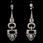 Diamond drop earrings, circa 1920.