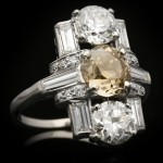 Art Deco fancy coloured diamond cluster ring, circa 1925.