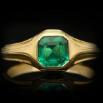 Victorian emerald solitaire ring, French, circa 1900.