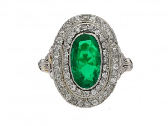 Antique Colombian emerald diamond ring berganza hatton garden