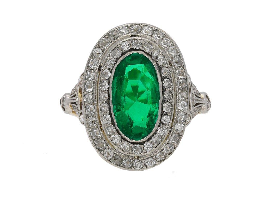 Antique Colombian emerald diamond ring berganza hatton garden