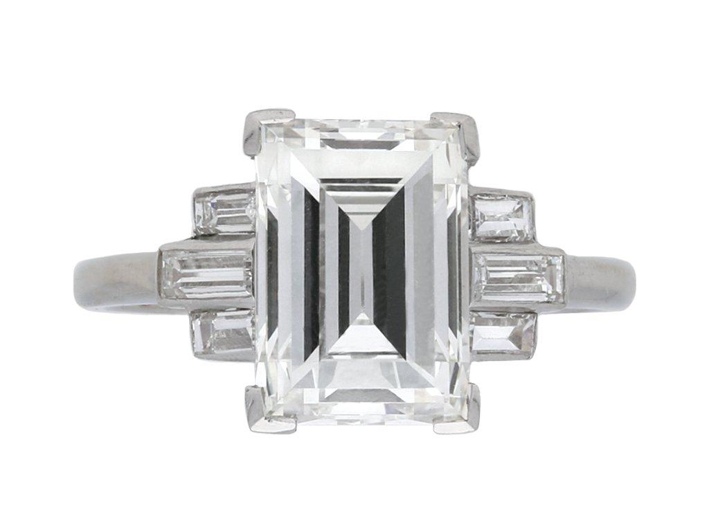 Art Deco flanked step cut diamond ring berganza hatton garden