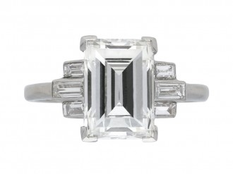 Art Deco flanked step cut diamond ring berganza hatton garden