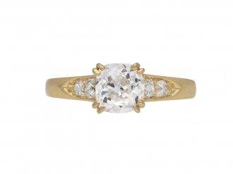 Victorian diamond flanked solitaire ring berganza hatton garden
