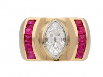 Vintage diamond and ruby cocktail ring berganza hatton garden