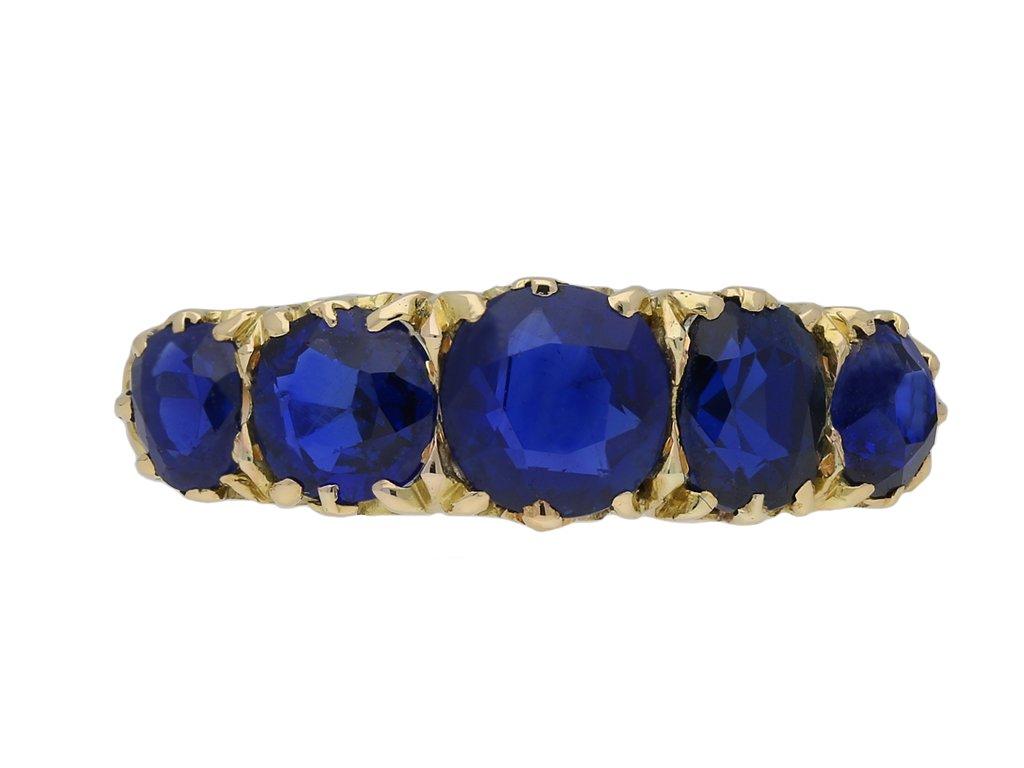 Victorian sapphire five stone ring 1890 berganza hatton garden