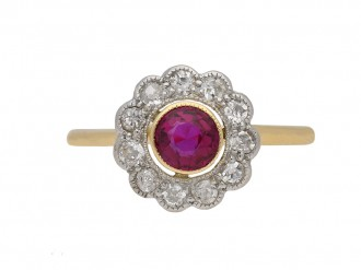 Edwardian ruby diamond cluster ring berganza hatton garden
