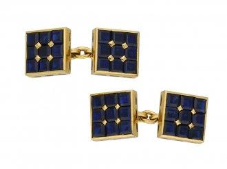Art deco sapphire cufflinks berganza hatton garden