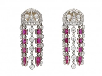 Ruby and diamond tassle earrings berganza hatton garden