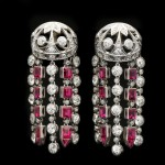Ruby and diamond tassle earrings, circa 1920.