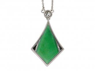 Art Deco jade and onyx pendant berganza hatton garden