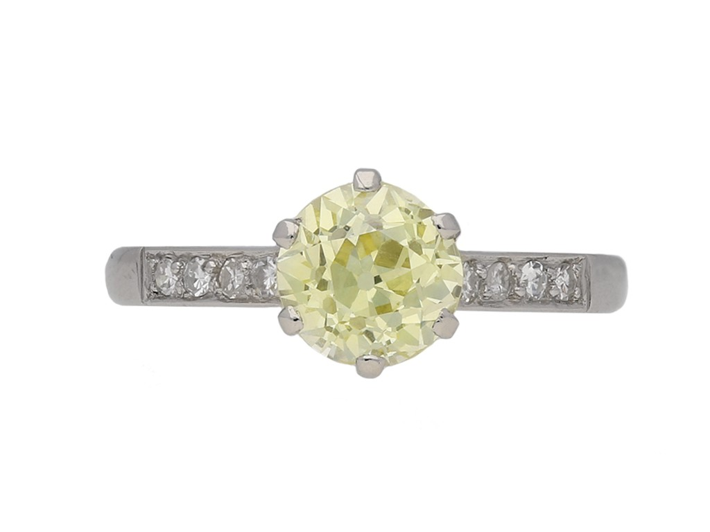 Fancy yellow solitaire diamond ring berganza hatton garden