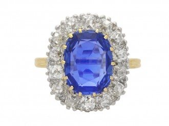 Edwardian Burmese sapphire and diamond cluster ring