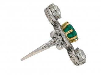 Edwardian emerald diamond crossover ring berganza hatton garden