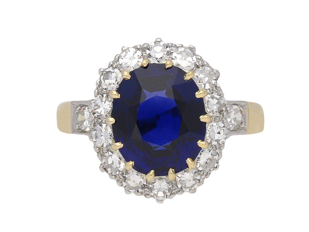 Edwardian sapphire diamond cluster ring berganza hatton garden