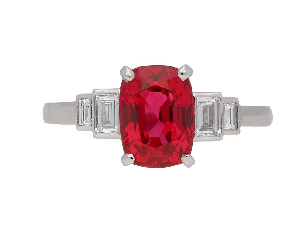 Art Deco Burmese Red Spinel Diamond Ring berganza hatton garden