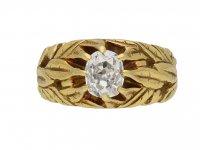 Art Nouveau carved diamond solitaire ring berganza hatton garden