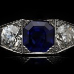 Art Deco Burmese sapphire and diamond three stone ring, French, circa 1930.