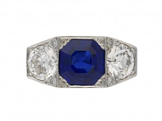 Art Deco Burmese sapphire diamond ring berganza hatton garden