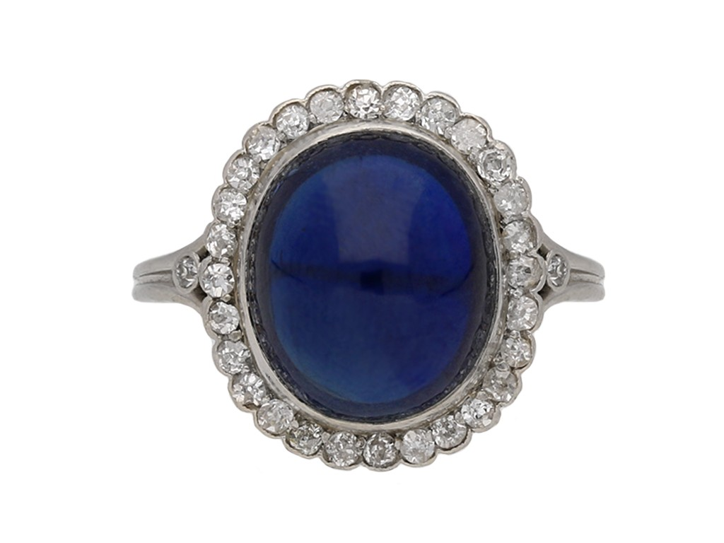 Cabochon sapphire and diamond cluster ring berganza hatton garden