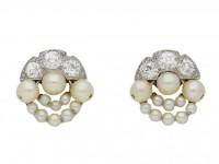 Natural pearl and diamond cluster earrings berganza hatton garden