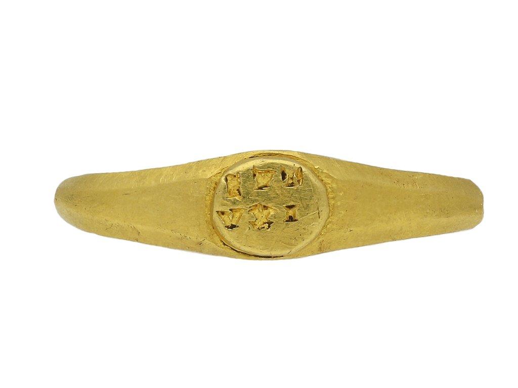 Ancient Roman 'EVT/VXI' gold signet ring berganza hatton garden