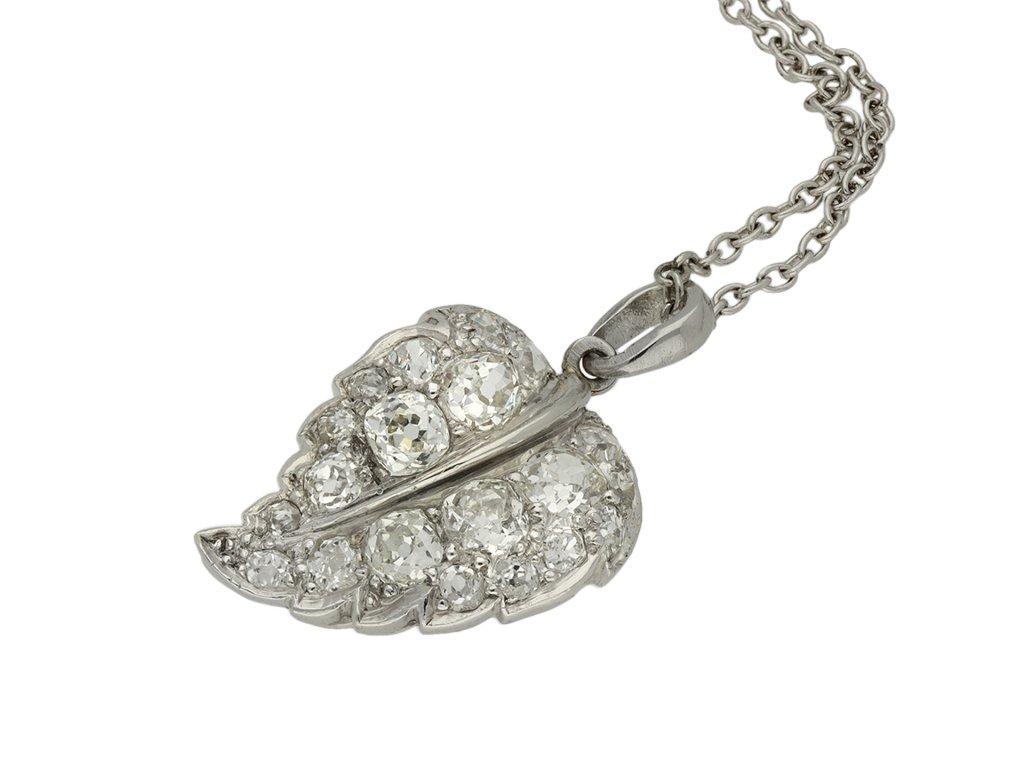 Antique diamond set leaf pendant berganza hatton garden