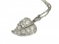Antique diamond set leaf pendant berganza hatton garden