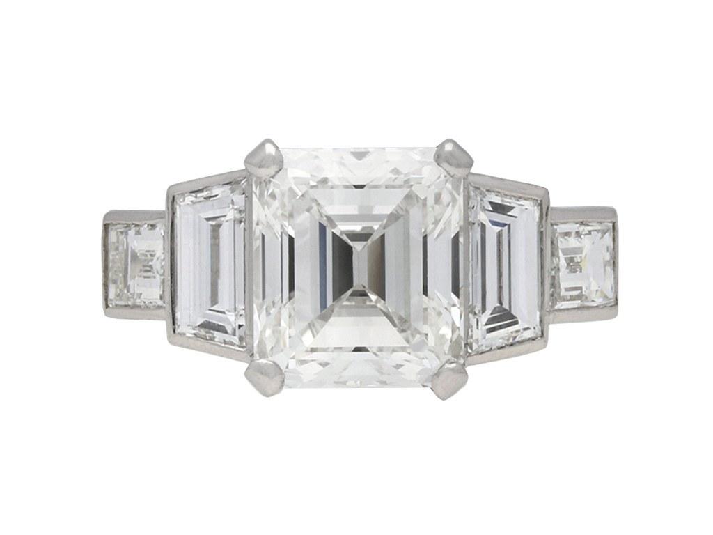 Vintage emerald cut diamond ring berganza hatton garden