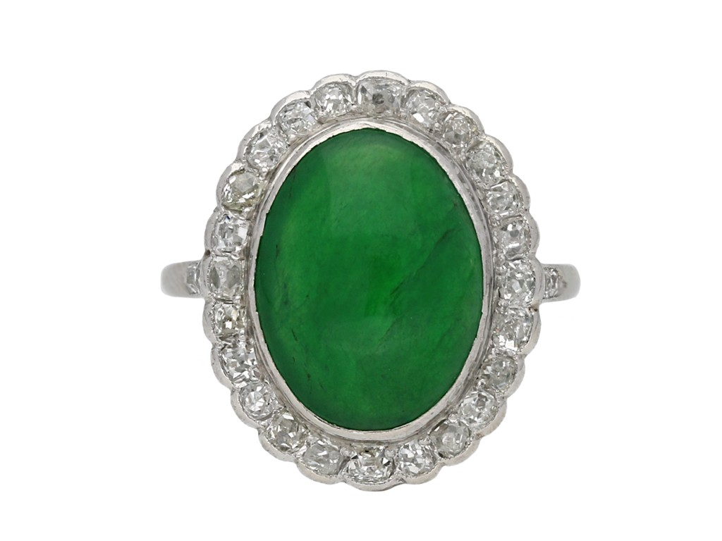 Edwardian jade diamond cluster ring berganza hatton garden