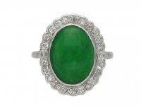 Edwardian jade diamond cluster ring berganza hatton garden