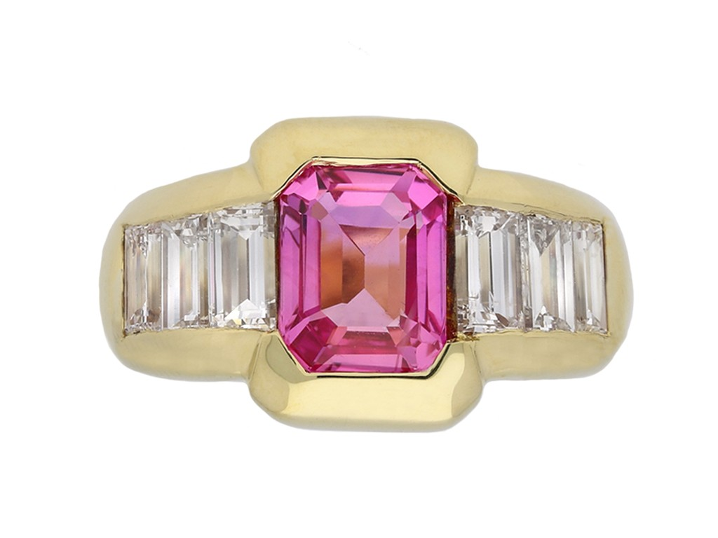Ceylon pink sapphire and diamond ring berganza hatton garden