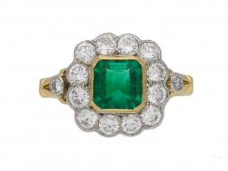 Vintage Colombian emerald diamond ring berganza hatton garden