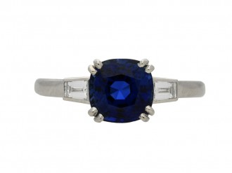 Royal Blue Burmese sapphire diamond ringberganza hatton garden