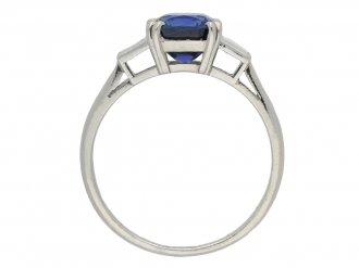 Royal Blue Burmese sapphire diamond ringberganza hatton garden