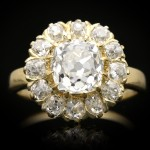 Victorian diamond coronet cluster ring, English, circa 1890.