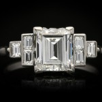 Art Deco flanked solitaire diamond ring, circa 1925.