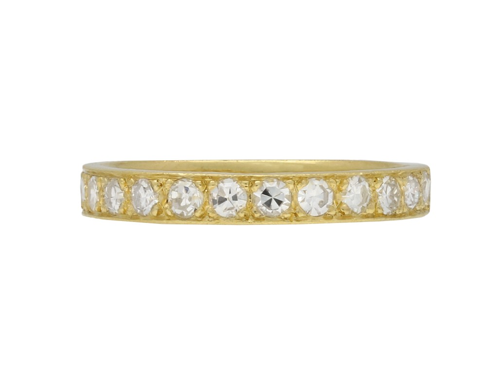 Vintage diamond yellow gold eternity band berganza hatton garden