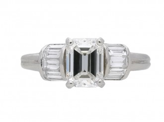 Vintage Emerald cut solitaire diamond ring berganza hatton garden