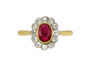 Edwardian Burmese ruby and diamond ring berganza hatton garden
