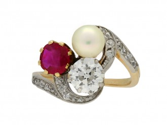 Art Nouveau pearl ruby diamond ring berganza hatton garden