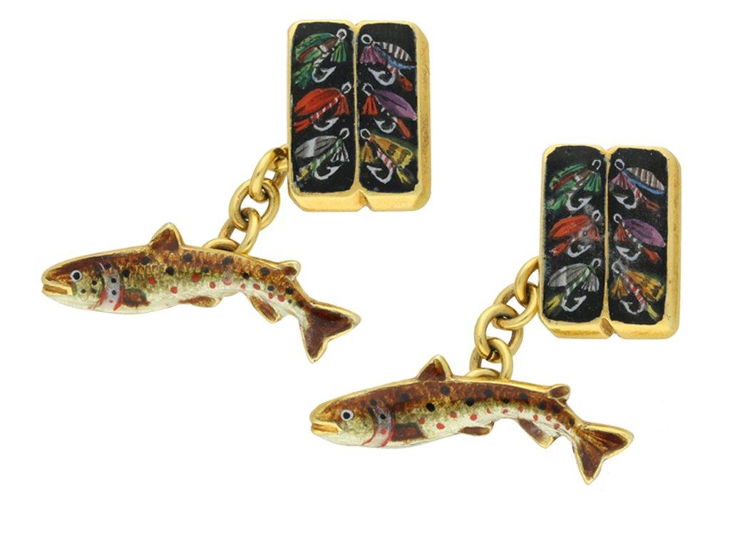 Vintage fishing cufflinks Alabaster Wilson berganza hatton garden