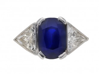 Vintage Burmese sapphire and diamond ring berganza hatton garden
