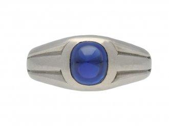 Art Deco Burmese sapphire ring berganza hatton garden