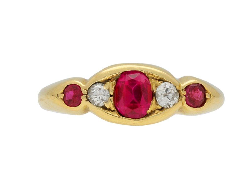 Edwardian ruby and diamond five stone ring berganza hatton garden