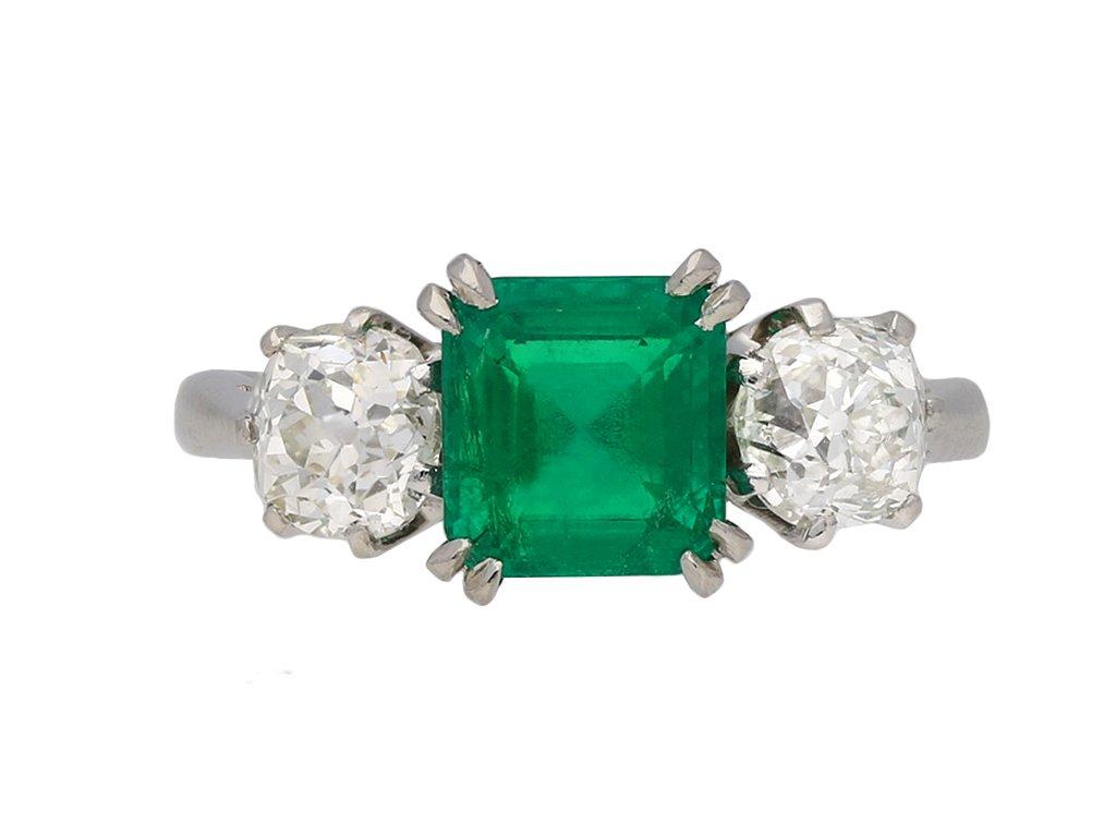 Colombian emerald diamond three stone ring berganza hatton garden