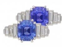 Art Deco Ceylon sapphire and diamond ring, berganza hatton garden